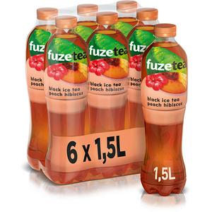 Ice Tea FUZETEA Piersica&Hibiscus bax 1.5L x 6 sticle