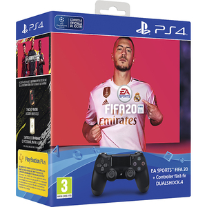 Controller wireless SONY PlayStation DualShock 4 V2, negru + FIFA 20