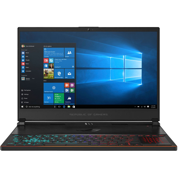"Laptop Gaming ASUS ROG Zephyrus S GX531GXR-ES007T, Intel Core i7-9750H pana la 4.5GHz, 15.6"" Full HD, 16GB, SSD 512GB, NVIDIA GeForce RTX 2080 8GB, Windows 10 Home, Negru"