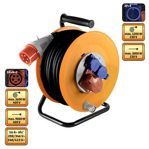 Prelungitor cu tambur metalic HOME HJR 400-25, 1 x 400V, 2 x 230V, 25m