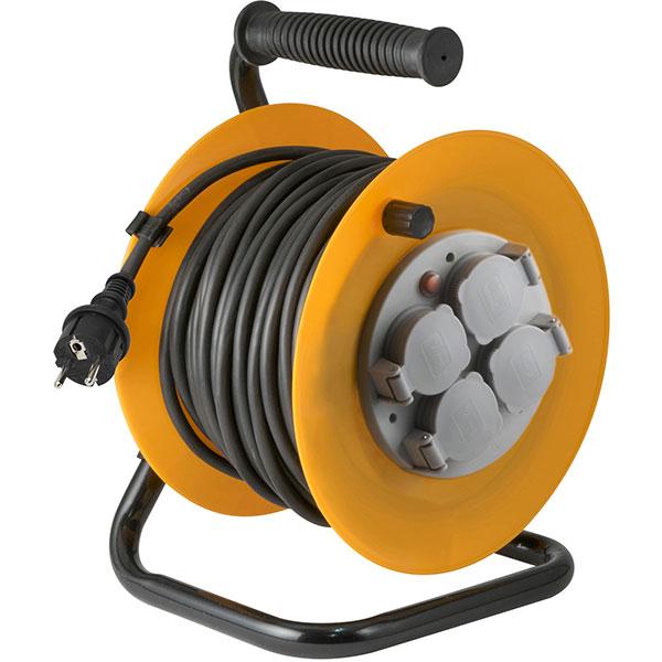 Prelungitor cu tambur metalic HOME HJR 10-30, 4 prize, IP44, 30m