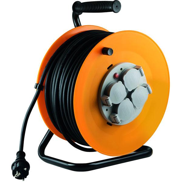 Prelungitor cu tambur metalic HOME HJR 10-50, 4 prize, IP44, 50m