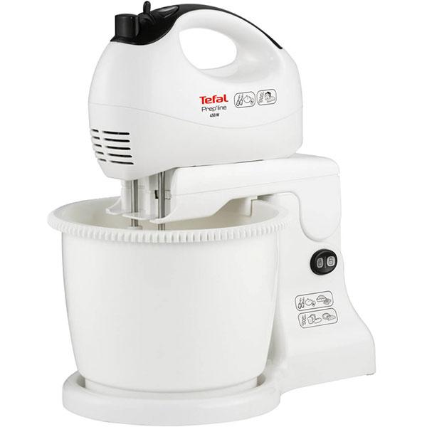 Mixer de mana TEFAL HT41313E, 450 W, 5 viteze, 2.5l, alb