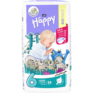 Scutece HAPPY Junior Extra 6, Unisex, 16 + kg, 54 buc