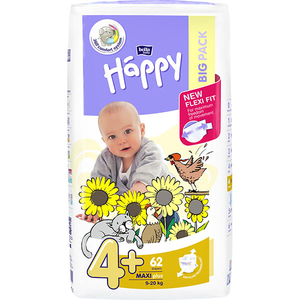 Scutece HAPPY Maxi Plus 4+, Unisex, 9 - 20 kg, 62 buc