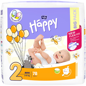 Scutece HAPPY Mini 2, Unisex, 3 - 6 kg, 78 buc