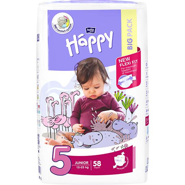 Scutece HAPPY Junior 5, Unisex, 12-25 kg, 58 buc