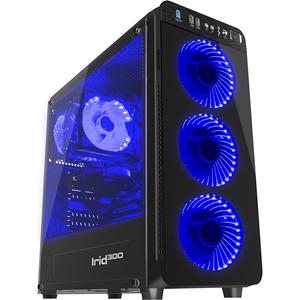 Carcasa GENESIS Irid 300 Blue, 1 x USB 3.0, 2 x USB 2.0, mini-ITX, mATX, ATX, fara sursa