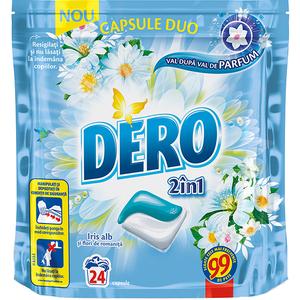 Detergent DERO Duo Caps Iris alb, 24 capsule, 24 spalari