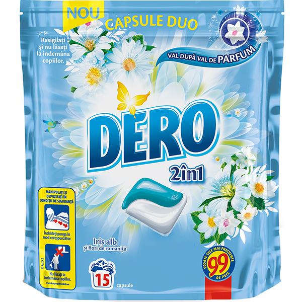 Detergent DERO Duo Caps Iris alb, 15 capsule, 15 spalari