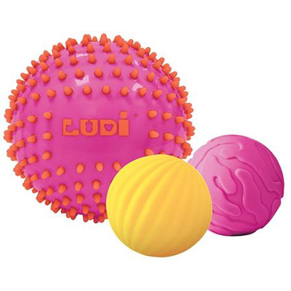 Set mingi senzoriale LUDI LUD30022, 6 luni+, galben-roz