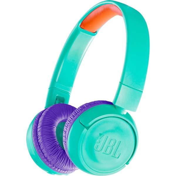 Casti pentru copii JBL JR300BT, Bluetooth, On-Ear, turcoaz
