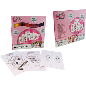 Set carioci lavabile LOL Surprise 35830J: 4 coli A4 de colorat si o coala A4 cu forme de colorat si asamblat, 3 ani+, 60 culori