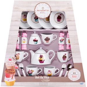 Set de ceai din portelan MAISONELLE 56007J, 3 ani+, alb-roz