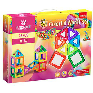 Joc constructie magnetic MAGSPACE Colorful World, 3 ani +, 36 piese
