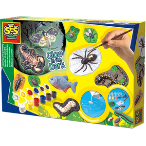 Set creativ SES Scary Animals Glow in the Dark S01153, 5 ani +, multicolor