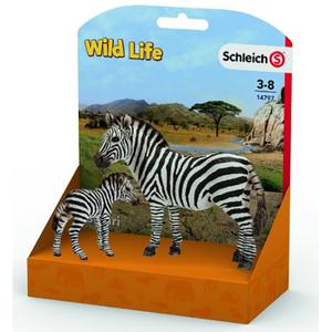 Set figurine SCHLEICH Zebra si pui de zebra SL14797L, 3 ani+, alb-negru
