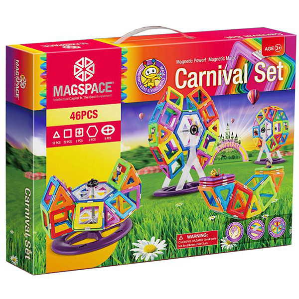 Joc constructie magnetic MAGSPACE Carnival, 3 ani +, 46 piese