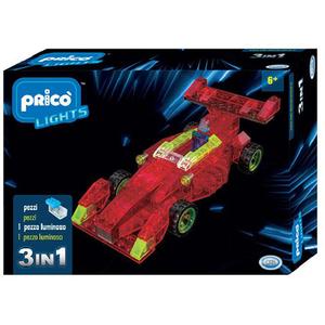 Joc constructie PRICO Lights Masinuta F1 cu lumini LED 3 in 1 36907J, 6 ani+, 121 piese