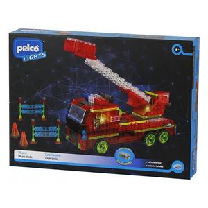 Joc constructie PRICO Lights Masina de pompieri cu led 36909J, 6 ani+, 337 piese