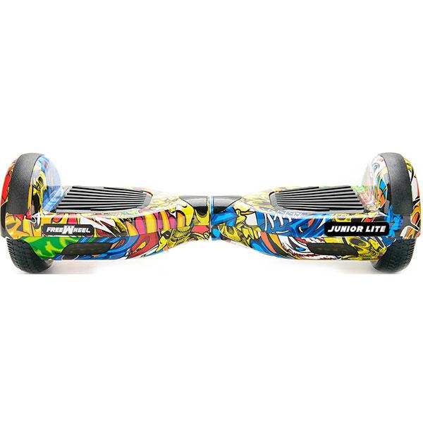 Scooter electric FREEWHEEL Junior Lite, 6.5 inch, viteza 12 km/h, motor 2 x 250W Brushless, graffiti galben