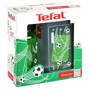Set sticla de apa si recipient mancare pentru copii TEFAL K3169314, 0.7l, plastic, verde