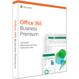 Microsoft Office 365 Business Premium 2019, Engleza, 1 an, 1 utilizator, Windows/Mac, iOS si Android