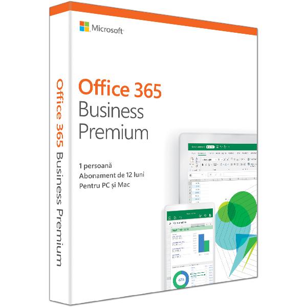 Microsoft Office 365 Business Premium 2019, Engleza, 1 an, 1 utilizator, Windows/Mac, iOS si Android