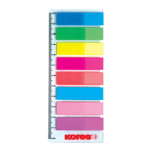 Index autoadeziv KORES, 12 x 45 mm, plastic, 8 x 25 file, diverse culori