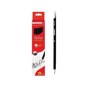 Creion grafit cu radiera KORES, 12 bucati, negru