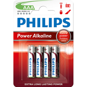 Baterie alcalina PHILIPS LR03, AAA, 4 bucati