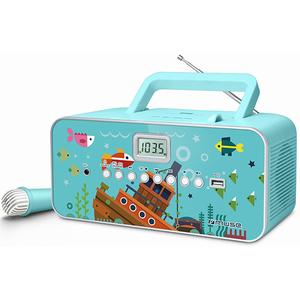 Radio CD portabil MUSE M-29 KB, CD, USB, Microfon, FM/MW, turcoaz