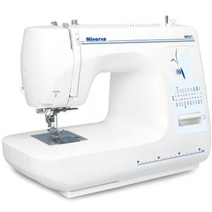 Masina de cusut MINERVA M921, 800 imp/min, 85W, 21 programe, alb-albastru