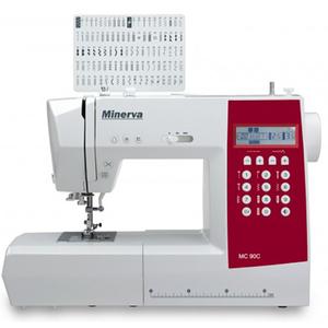 Masina de cusut MINERVA MC90C, 800 imp/min, 90 programe, alb-rosu
