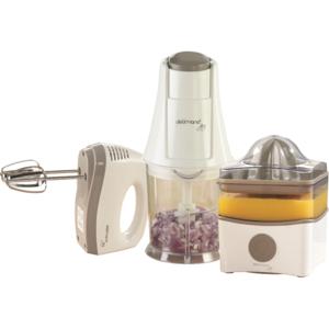 Set DELIMANO 110037473PAK: Storcator citrice 0.8l, 40W + Mixer de mana 150W, 5 trepte viteza + Mini tocator 0.6l, 200W, alb - gri