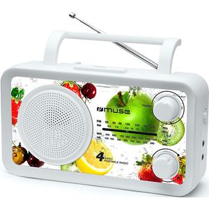 Radio portabil MUSE M-05 VF, FM/MW/LW/SW, alb-multicolor