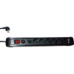 Prelungitor MYRIA MY2328, 5 prize Schuko cu protectie, 3m, H05VV-F 3G1.5mm, 2x USB, siguranta resetabila, negru