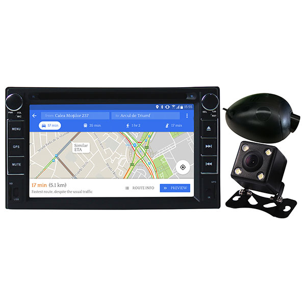 """DVD player auto cu Android + camere fata/spate MYRIA MY2106, Display 6.2"""" ,GPS, Bluetooth, 4x40W"""
