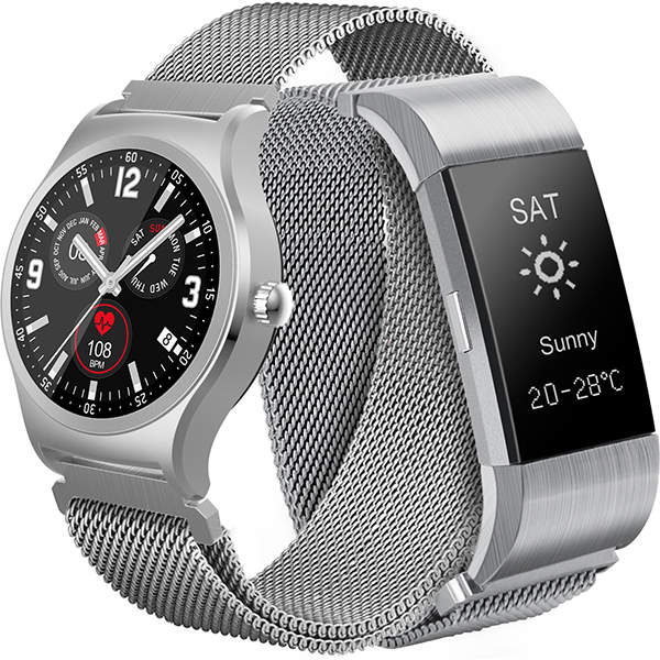 Pachet Smartwatch+Bratara MYRIA MY9512, Argintiu