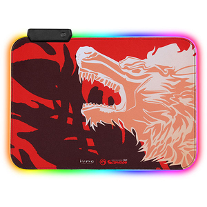 Mouse pad gaming MARVO MG-09, iluminare RGB, design FireWolf, marime M