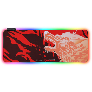 Mouse pad gaming MARVO MG-11, iluminare RGB, design FireWolf, marime XL