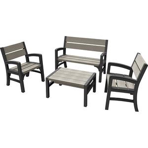 Set mobilier gradina KETER Montero, 4 piese, gri-maroniu