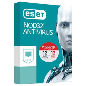 Antivirus ESET NOD32, 1 an + 1 an gratuit, 1 utilizator, Box