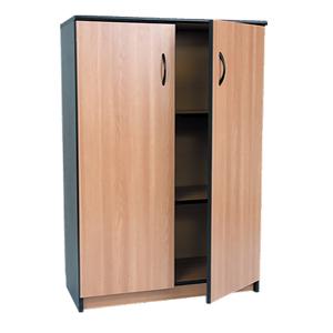 Dulap birou RTC Office Line, 80 x 36 x 115 cm, PAL, 2 usi, 2 polite, stejar-negru