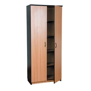 Dulap birou RTC Office Line, 80 x 36 x 185 cm, PAL, 2 usi, 4 polite, stejar-negru