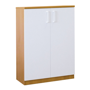 Dulap birou RTC Managerial Line, 80 x 36 x 115 cm, PAL, 2 usi, 2 polite, stejar ferrara-alb