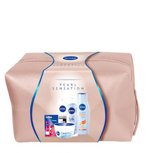 Set cadou Nivea Pearl Sensation: Crema de corp, 200ml + Spuma de dus, 200ml + Deodorant spray, 150ml + Sampon, 250ml + Balsam de buze, 4.8g