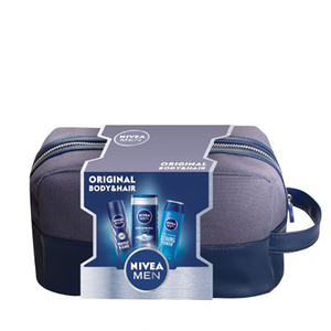 Set cadou NIVEA Men Original Body&Hair: Deodorant Spray, 150ml + Gel de dus, 250ml + Sampon, 250ml