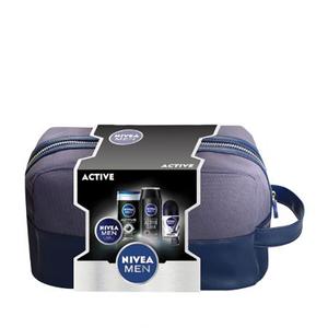 Set cadou NIVEA Men Active: Gel de dus, 250ml + Deodorant roll-on, 50ml + Sampon, 250 ml + Crema, 75ml
