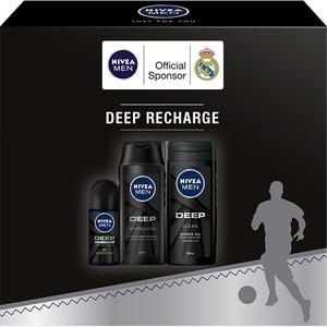 Set cadou NIVEA Men Deep Recharge: Gel de dus 3 in 1, 250ml + Sampon, 250ml + Deodorant roll-on, 50ml